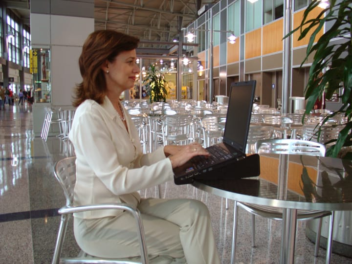Laptop Stand in Airport